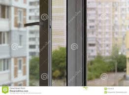 Moskito Schirm Auf Einem Fenster Stockbild Bild Von Netz Aufbau