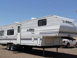 thor wanderer wagon 305tb 2002 30ft fifth wheel toy hauler used inventory dunesport toy haulers rvs fifth wheelerore