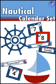 Calendar Pocket Chart Set Nautical Classroom Theme Calendar Pocket Chart Printable