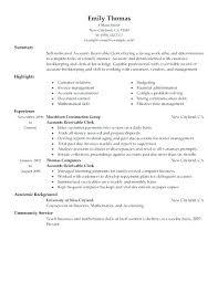 Accounts Receivable Resume Examples Accounts Payable Responsibilities Resume Accounts Payable Clerk