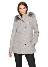 nautica women s novelty wool anorak jacket with faux fur trim hood extra large