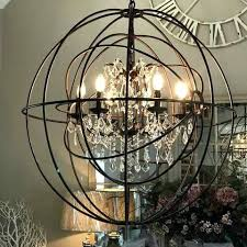 large round metal double orb chandelier crystal droplets iron