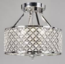 new galaxy 4 light chrome finish round metal shade crystal chandelier semi flush