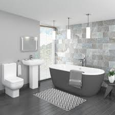 The Pro 600 modern grey bathroom suite includes a grey painted freestanding  bath, full pedestal