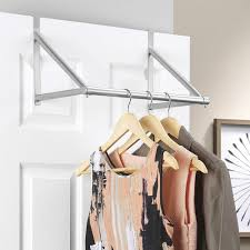 details about stainless steel over the door rail hanger bar clothes rod space saver storage