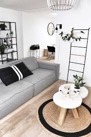 Zwart Wit Interieur Met Hout Grijs Woonkamer Slaapkamer Groen