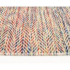 wool flat weave huish herringbone multi coloured floor area rug side image
