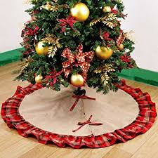 Amazon.com: OurWarm Burlap Christmas Tree Skirt Ruffled Plaid ...