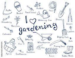 gardening tools with names stock vector