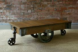 reclaimed mill cart coffee table