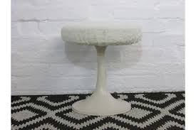 retro 1960s white plastic round tulip design dressing table stool photo 1