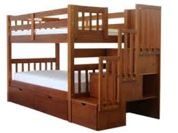 Bedz King Stairway Bunk Twin over Twin Bed with 3 Drawers in the Steps, ...