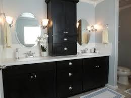 Brown Painted Bathrooms Modern Minimalist Black Wooden Bathroom Vanity With White Marble
