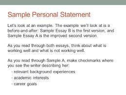 Examples Of Personal Statements Writing Personal Statements Ppt Download