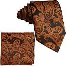 Brand Q New Men's Rust Orange Paisley Design Self Tie Necktie And  Handkerchief Set