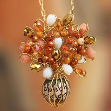 18k gold plated glass and ceramic pendant necklace elegant cer