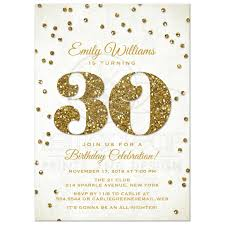 30th birthday party invitations gold glitter look confetti