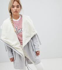 Asos Design Waterfall Parka With Borg Liner Asos Design Petite Waterfall Parka With Borg Liner