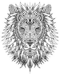 Small Picture Difficult lion head Animals Coloring pages for adults JustColor