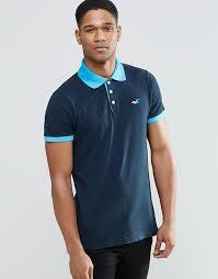 hollister polo shirt with contrast graduated collar navy hollister men polo shirts hollister clothing v32z6819