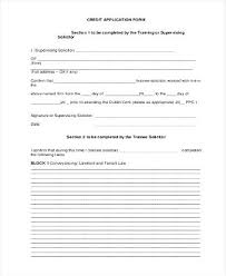 Generic Credit Application Form Account Free Printable Obconline Co