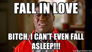 Fall in Love Bitch, I can't even fall asleep!!! - Kevin hart too ... via Relatably.com