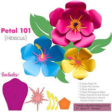 Paper Flower Video Hibiscus Petal 101 Giant Paper Flower Templates Kit 6 7 Sizes