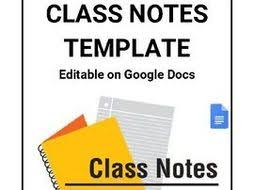 Class Notes For Students Template Editable In Google Docs By