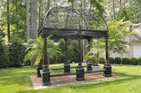 garden dome. RECTANGULAR VICTORIAN STYLE GARDEN GAZEBO, CAST IRON WITH WROUGHT DOME, BENCH SEATING Measures Garden Dome