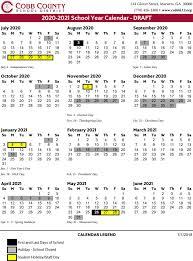Cobb County School Calendar 2020 2021 Marietta Com