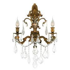 worldwide lighting versailles 3 light french gold wall sconce with clear crystal