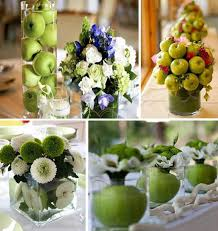 Green apples for table decorating, natural table centerpiece ideas