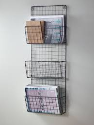 wall shelves for office. stylish and practical our magazine rack has three holders handy keyholes to secure your wall the wire mesh frame lends a touch of industrial style shelves for office