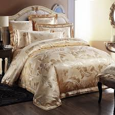 luxury gold fern leaf pattern noble excellence unique jacquard satin full queen size bedding sets