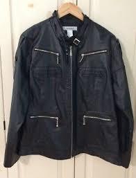 Avenue Moto Leather Jacket Sz 18 Black Zippers <b>Perfume Scent</b> ...