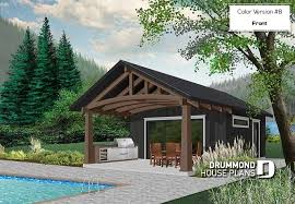 pool house with outdoor kitchen plans. Color Version 8 - Front Pool House Plan Or Cabana Plan, Shower Room, With Outdoor Kitchen Plans S