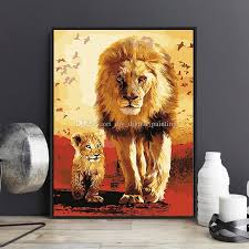 lion painting acrylic. Modren Lion 2018 Diy Painting By Numbers Kits Acrylic Paint Lion Father Son On Canvas  Hand Painted Oil For Wall Art Work Living Room Decor From  U