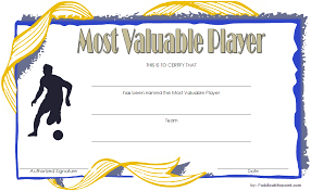 Free Soccer Certificate Templates Soccer Mvp Certificate Template 3 Paddle At The Point