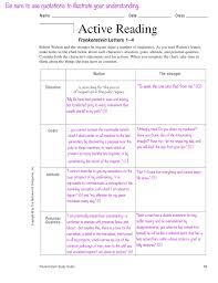 Frankenstein Character Chart Active Reading