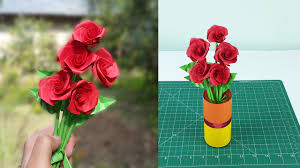 Paper Flower Stems How To Make Realistic Paper Roses With Leaves And Stem Easy Step