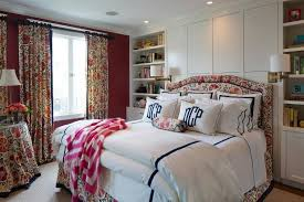 drapes for bedroom. bold red traditional bedroom with floral curtains drapes for o