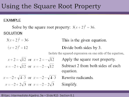 chapter 8 quadratic equations and functions 1 the square root