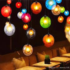 modern crystal chandelier colorful glass ball led pendant lamp for dining room living room bar g4 led bulb ac 85 265v crystal chandelier modern chandeliers