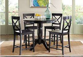 Brynwood Black 5 Pc Counter Height Dining Set (X Back Stool) - Traditional Stool