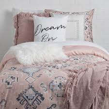 dormify s pink and blue patterned daydreamer collection dorm bedding