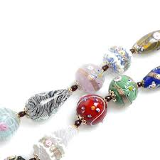 vintage murano glass necklace with handcrafted beads clown ashtray
