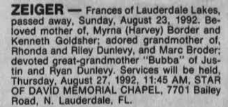 Obituary for Frances ZEIGER - Newspapers.com