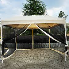 outdoor gazebo canopy 10 x10 pop up party tent mesh mosquito net patio tan