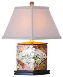 chinese porcelain satsuma style diamond shaped vase table lamp 16