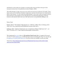 sample law essay summary on the uniform trade secrets act innovative 2 individuals